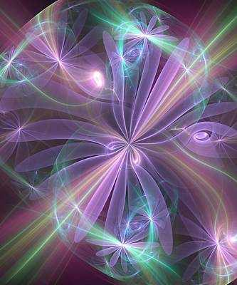 Poster featuring the digital art Ethereal Flower In Violet by Svetlana Nikolova