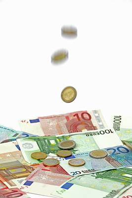 Euro Banknotes And Coins Poster by Bildagentur-online/mcphoto-schulz