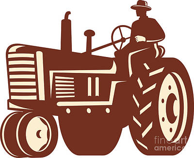 Farmer Driving Vintage Tractor Retro Poster by Aloysius Patrimonio