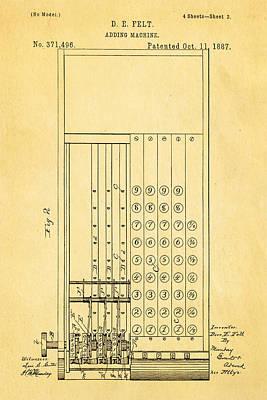 Felt Adding Machine Patent Art 1887 Poster by Ian Monk