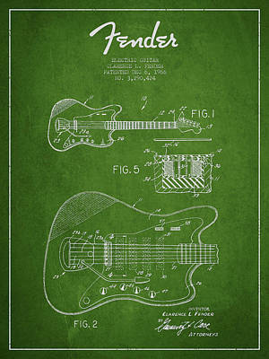 Fender Electric Guitar Patent Drawing From 1966 Poster