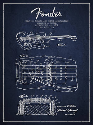 Fender Floating Tremolo Patent Drawing From 1961 - Navy Blue Poster by Aged Pixel
