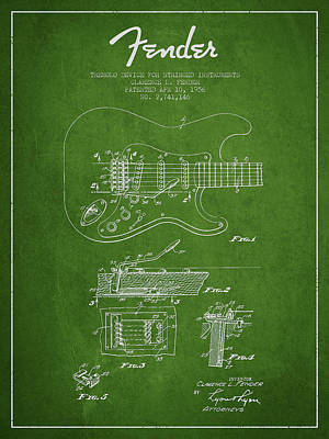 Fender Tremolo Device Patent Drawing From 1956 Poster