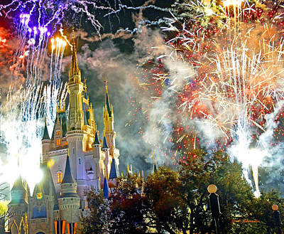 Fireworks Cinderellas Castle Walt Disney World Poster