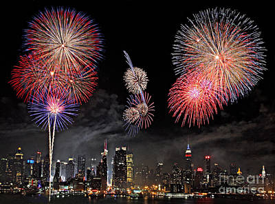 Poster featuring the photograph Fireworks Over New York City by Roman Kurywczak