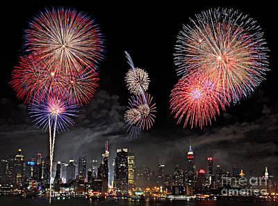 Fireworks Over New York City Poster