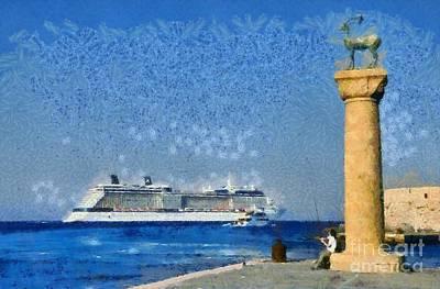 Fishing At The Entrance Of Mandraki Port Poster by George Atsametakis