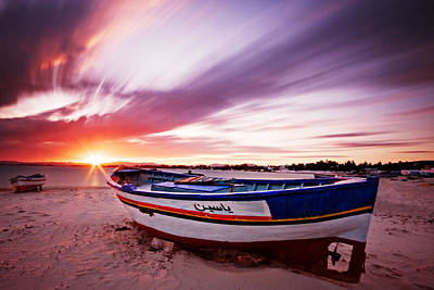 Poster featuring the photograph Fishing Boat At Sunset / Tunisia by Barry O Carroll