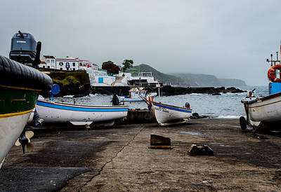 Fishing Boats On Wharf With View Of Houses  Poster