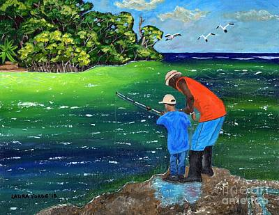 Poster featuring the painting Fishing Buddies by Laura Forde