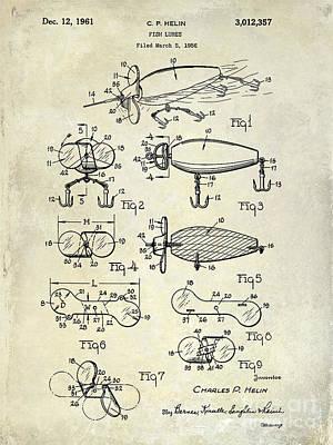 1961 Fishing Lures Patent Drawing  Poster by Jon Neidert