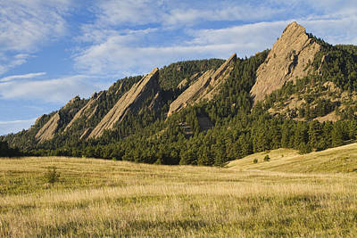 Flatirons With Golden Grass Boulder Colorado Poster