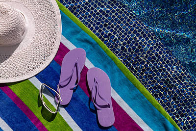 Flip Flops By The Pool Poster by Teri Virbickis