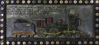 Poster featuring the painting Folsom Prison Train by Eric Cunningham