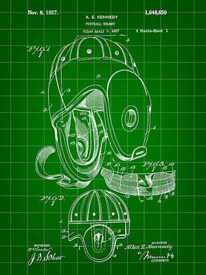 Football Helmet Patent 1927 - Green Poster