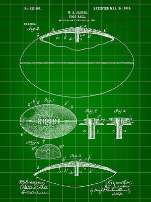 Football Patent 1902 - Green Poster