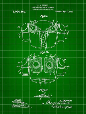 Football Shoulder Pads Patent 1913 - Green Poster