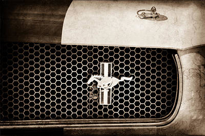 Ford Mustang Gt 350 Grille Emblem Poster by Jill Reger