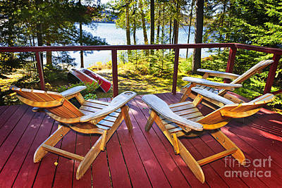 Forest Cottage Deck And Chairs Poster