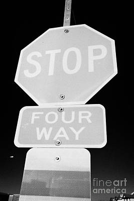 four way stop sign with crosswalk Canada Poster by Joe Fox
