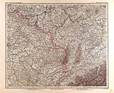 France Map 1874 Gotha Justus Perthes 1872 Atlas Poster by French School