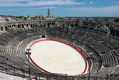 France, Nimes, Roman Amphitheater Or Poster