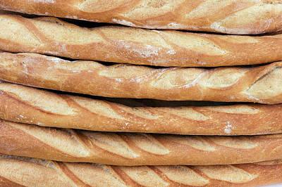 Freshly Baked Baguettes For Sale Poster