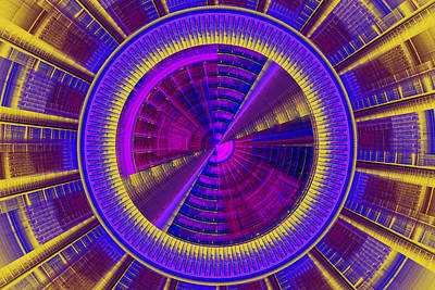 Futuristic Tech Disc Fractal Flame Poster by Keith Webber Jr