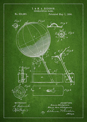 Geographical Globe Patent Drawing From 1894 Poster