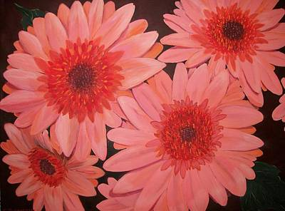 Poster featuring the painting Gerber Daisies by Sharon Duguay