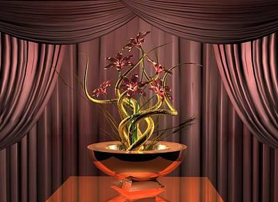 Gold Twist Red Flower Poster