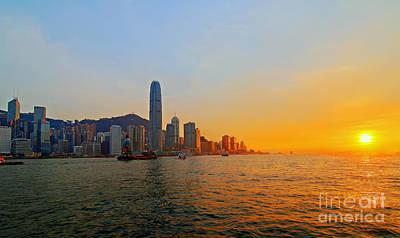Golden Sunset In Hong Kong Poster by Lars Ruecker