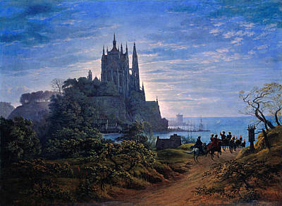 Gothic Church On A Rock By The Sea Poster by Celestial Images