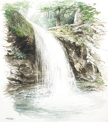 Poster featuring the painting Grotto Falls by Bob  George