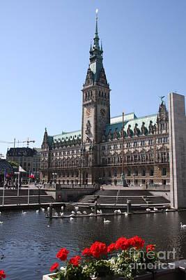 Hamburg - City Hall With Fleet - Germany Poster