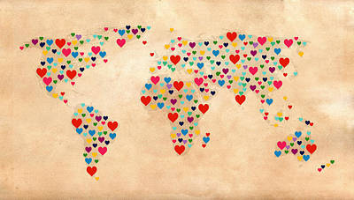 Heart Map  Poster by Mark Ashkenazi