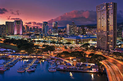 Poster featuring the photograph Honolulu City Lights by Hawaii  Fine Art Photography
