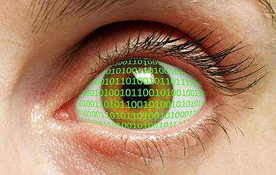 Human Eye With Binary Code Poster by Victor De Schwanberg
