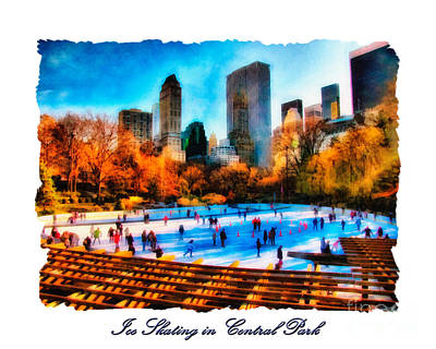 Ice Skating In Central Park Poster