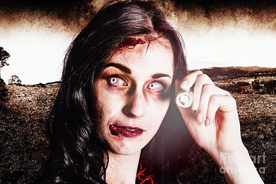 Infected Woman Searching Field During Zombie Apocalypse Poster