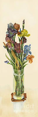 irises in Vase Poster by Nan Wright