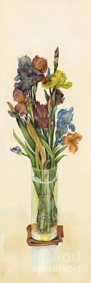 irises in Vase Poster