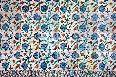 Iznik Ceramics With Floral Design Poster