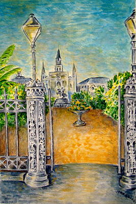 Jackson Square- Early Morning Poster by Joan Landry
