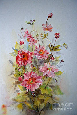 Poster featuring the painting Japanese Anemones by Beatrice Cloake
