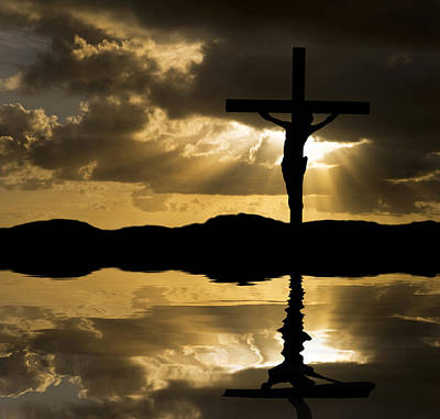 Jesus Christ Crucifixion On Good Friday Silhouette Reflected In  Poster by Matthew Gibson