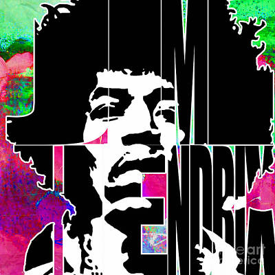 Jimi Hendrix Typography Poster by Marvin Blaine