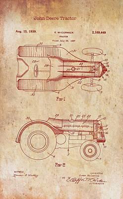 John Deere Tractor Patent 1939 Poster
