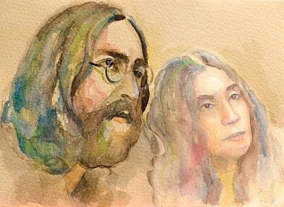 Poster featuring the painting John Lennon by Laur Iduc