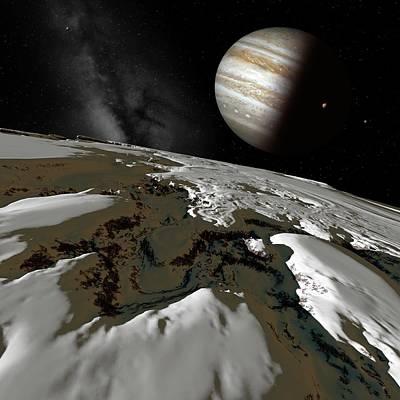 Jupiter From Europa Poster by Detlev Van Ravenswaay